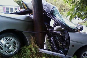 parked car around pole