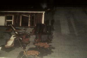 house fire debris