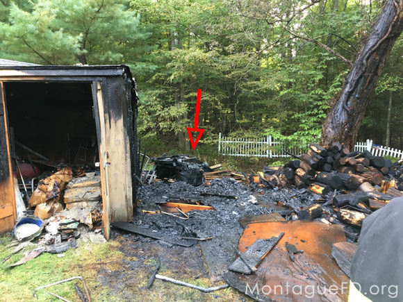 Shed Fire started by a Lawn Mower‏